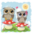 two cute owls are sitting on mushrooms vector image vector image