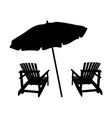 two lounge chairs under an umbrella on beach vector image