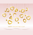 valentines day background decorated 3d gold hearts vector image vector image