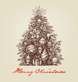 vintage christmas tree hand drawing retro style vector image