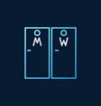 wc doors colored linear icon on dark vector image vector image