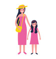 woman and girl family characters vector image vector image