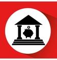 silhouette bank bulding piggy saving money orange vector image