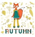 Autumn elegant card with cute fox character vector image