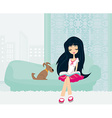 Teen girl Reading A Book in her room vector image