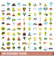 100 scenery icons set flat style vector image