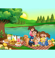 a family picnic in park vector image