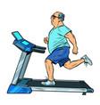 an elderly fat man treadmill sports equipment vector image vector image