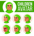 arab muslim girl avatar set kid vector image vector image