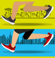 athletes with running shoes sport competition vector image vector image