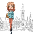 beautiful fashion girl in Bruges vector image vector image