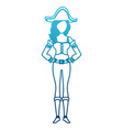 beautiful woman pirate cartoon vector image