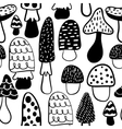 Black and white modern mushroom seamless pattern vector image vector image