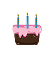 cake pastel with candles decoration celebratetion vector image vector image