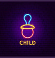 child neon label vector image