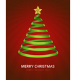 Christmas tree from ribbon background vector image