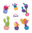 colorful cacti potted plant flowers stickers set vector image vector image