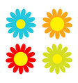 colorful daisy chamomile icon set cute flower vector image vector image