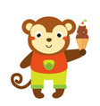 cute monkey holing ice cream cartoon animal for vector image vector image