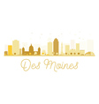 Des Moines City skyline golden silhouette