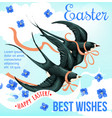 easter holiday poster with bird and spring flower vector image
