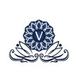 flower elegant icon initial v vector image vector image