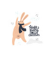 funny rabbit hand drawn flat color vector image
