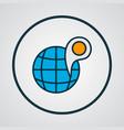 globe with pin icon colored line symbol premium vector image vector image
