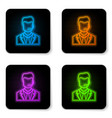 glowing neon man with a headset icon isolated on vector image
