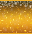 golden background with snowflakes christmas vector image