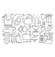 hand draw kitchen utensils icon vector image