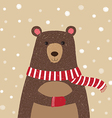 hand drawn cute bear wearing red scarf vector image vector image
