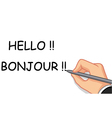hand writing hello and bonjour vector image