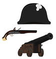 Hat canon and musket vector image vector image