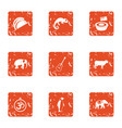 important animal icons set grunge style vector image