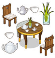 isolated set of wooden kitchen furniture vector image vector image