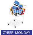 Laptop Computer in Cyber Monday Shopping Cart vector image vector image