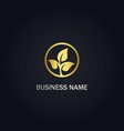 leaf organic seed gold logo vector image