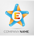 letter e logo symbol in the colorful star on grey vector image vector image