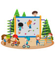 many children riding bike and climbing wall vector image vector image