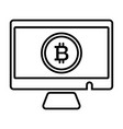 monitor bitcoin line icon vector image vector image
