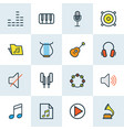 multimedia icons colored line set with notes vector image vector image
