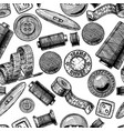 pattern with different tailors objects vector image