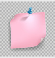 pink pastel color stick note paper and pin vector image vector image