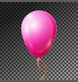 realistic pink balloon with ribbon isolated vector image