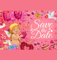 save date cupid angel with heart balloons vector image