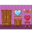 Set cartoon girlish pink Living room vector image