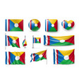 set reunion flags banners banners symbols vector image
