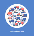 shipping services round concept with different vector image