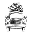 sketch vintage car with suitcases on top traveling vector image vector image